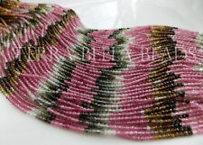 """12"""" AAA WATERMELON TOURMALINE micro faceted gem stone rondelle beads 2mm - 2.5mm"""