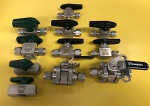 """Lot of 11 New Swagelok valves 3/8"""" and 1/4"""" ball and plug valves"""