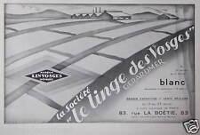 PUBLICITÉ 1930 LE LINGE DES VOSGES GERARDMER MARQUE LINVOSGES - ADVERTISING