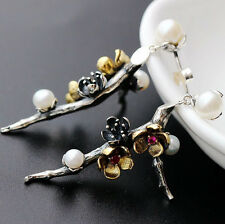 925 Sterling Silver Freshwater Pearls Cherry Blossoms Branch Earrings A1779