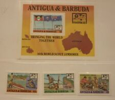 OLD BOY SCOUT GIRL GUIDE STAMP COLLECTION 1987 ANTIGUA JAMBOREE SHEET & SET MINT