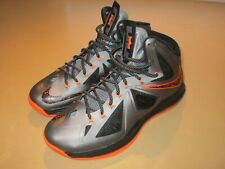 2012 Nike LeBron 10 X Lava Charcoal Total Orange Black 541100-002 Mens 12