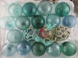 18 VINTAGE Japanese Glass floats <'}< BIG VARIETY Alaska Beachcombed