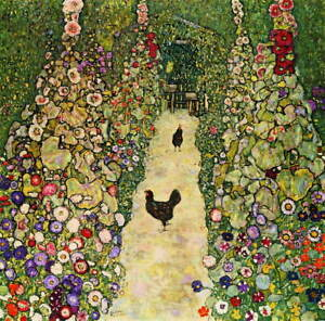 Gustav Klimt Garden Path with Chickens Poster Reproduction Giclee Canvas Print