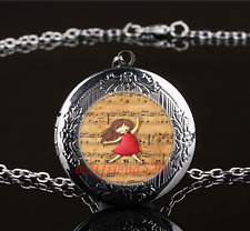 Musical Note Girl Cabochon Glass Gun Black Locket Pendant Necklace#Q46