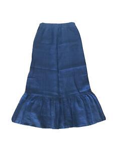 juicy couture linen maxi ruffle skirt modest navy size medium