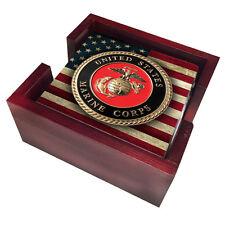 MARINE CORPS EGA LOGO SANDSTONE USA FLAG 4 PIECE WOOD COASTER SET MADE IN USA