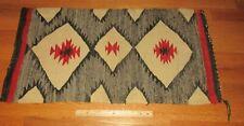 "Vintage Early American Indian Navajo Saddle Blanket Small Rug Eye Dazzler 36x19"""