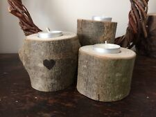 Wood Log Tea Light Candle Holder with burned heart. Set of 3. Rustic. Natural.