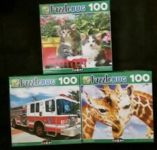 🌞 100 Piece Jigsaw Puzzle (Lot of 3) Giraffe Kittens Cat Fire Engine