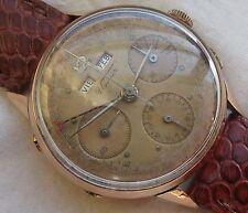 Unver chronograph Triple Date mens wristwatch 18K solid gold case Valjoux 72C