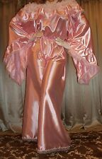 Vtg Fair Pink Palazzo Pants Blouse Jumpsuit Long Satin Ruffle Nightgown 1X 2X