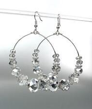 GLITZY Urban Anthropologie Smoky Hematite Crystals Statement Dangle Earrings