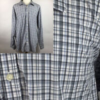 BLUE Pronto Uomo Men's Long Sleeve Button Front Shirt 100% Cotton Plaid Size 3X