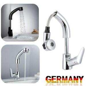 Waschtischarmatur Ausziehbar Wasserhahn mit Brause Waschbecken Mischbatterie Bad