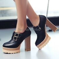 Ladies Ankle Boots Round Toe Chunky Heel Platform Side Zip Buckle Strap Shoes