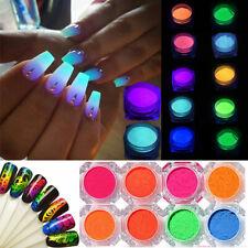 11 Colores Uñas Neón Pigmento en Polvo Polvo fósforo Fluorescente Brillante Arte en Uñas