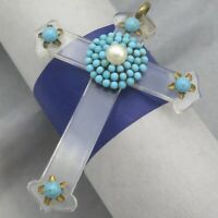 Vtg 1940's Victorian Revival Turquoise Glass Cluster Pearl Large Cross Pendant