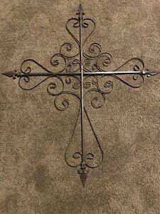 "Huge Wrought Iron Cross Wall Hanging Christian Decor 41"" X 34.5"" Scroll"