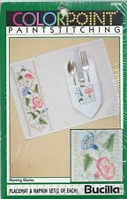 Bucilla Colorpoint Paint Stitching MORNING GLORIES Placement Napkins Embroider