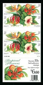 3310 - 3313 3313b Tropical Flowers Booklet of 20 33¢ Stamps