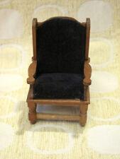 Vintage Dollhouse Miniature HANDMADE Wood Frame VELVET Upholstered Armchair