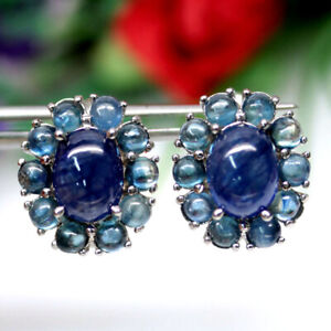 NATURAL BLUE SAPPHIRE EARRINGS 925 SILVER STERLING