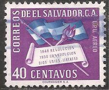 El Salvador Air Post Stamp - Scott #C138/AP40 40c Purple Canc/LH 1952