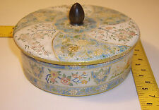 vintage Made in Holland ~ Tin container w/ Lid ~flower/country village Design