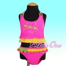 2 Pcs Pink Bee Girls  Swimsuit Swimwear Bathing Suit Toddler Size 4-5 SW031