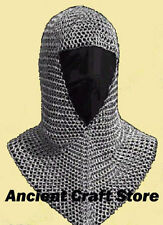 Chain Mail Coif Zinc Butted Chainmail Hood Knight Armor Hood Coif