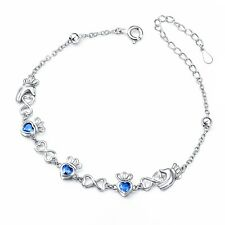 Claddagh Love Heart Bracelet Blue S925 Sterling Silver Adjustable Irish Celtic