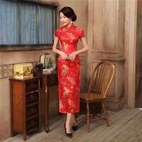 Sexy Womens lady Red Satin Cheongsam Embroidery QiPao Wedding Chinese Dress Long