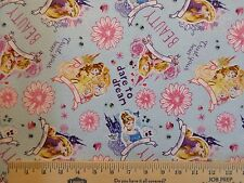 I am Princess Allover Fabric BTY by yard 36x44 Rapunzel Aurora Cinderella Belle
