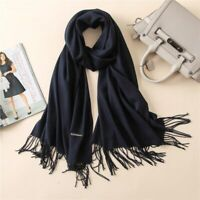 Women Scarf Soft PASHMINA SILK Classic Solid Cashmere Wool SHAWL Stole Wrap Us
