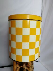 Vintage Regency Ware Yellow & White Biscuit Flour Storage Tin / Canister