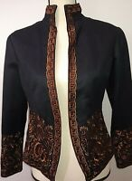 Coldwater Creek Black Jacket with Brown Floral Embroidery Sz 4P Lined Washable