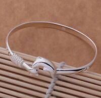 925 Sterling Silver Dolphin Luck Bracelet Bangle Stunning Ladies Jewellery Women