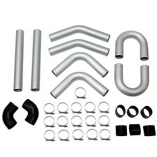 """Universal 3"""" 76mm Polished Aluminum Silver Intercooler Pipe Kit + Hose + Clamp"""