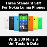 Three G Sim Card For All Smart Phones - 3 Network - 3 G Trio 3 in 1 SIM Card