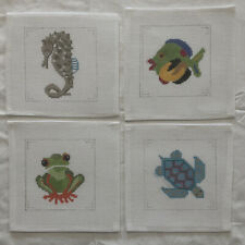 Hand Painted Needlepoint Canvas 4 Coasters Fish Frog Seahorse Turtle Marine