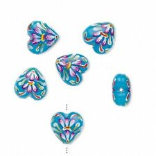 1462 Lampwork Glass Heart Beads Blue Floral 18mm PK2 *UK EBAY SHOP*