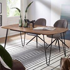 FineBuy Esszimmertisch Esstisch mit Metallbeinen Tisch Massivholz Holztisch