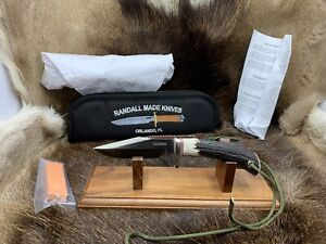 Randall Model 8-4 Trout Knife With Stag Handles Leather Sheath Factory Mint +