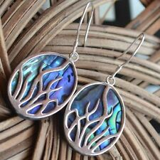 Natural Blue Abalone Sea Shell under Resin With 925 Sterling Silver Earrings