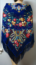 """Russian Floral Shawl w/Fringes 55""""/140cm Blue  """"Pavlovo style"""" ,#105-2"""