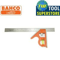 Bahco 12in Combination Set Square 300mm Stainless Steel Ruler Spirit Level CS300