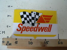 STICKER,DECAL  SPEEDWELL WITH FINISH FLAG RARE VINTAGE STICKER LARGE AUTO CAR ?