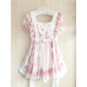 LIZ LISA Pink White Floral OP Dress XS S Puff Sleeve Babydoll Himekaji Gyaru