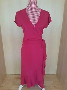 Deep pink vintage wrap dress by Hobbs, short sleeve, knee-length, size 10/12